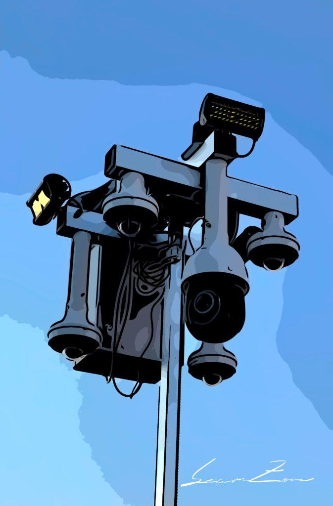 Baustellenüberswachung Systemkopf Cartoon